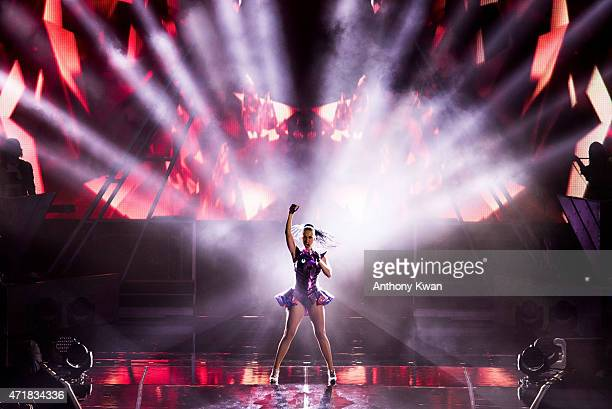 Katy Perry performs on the stage during her 'Prismatic' world tour concert at Cotai Arena on May 1 2015 in Macau