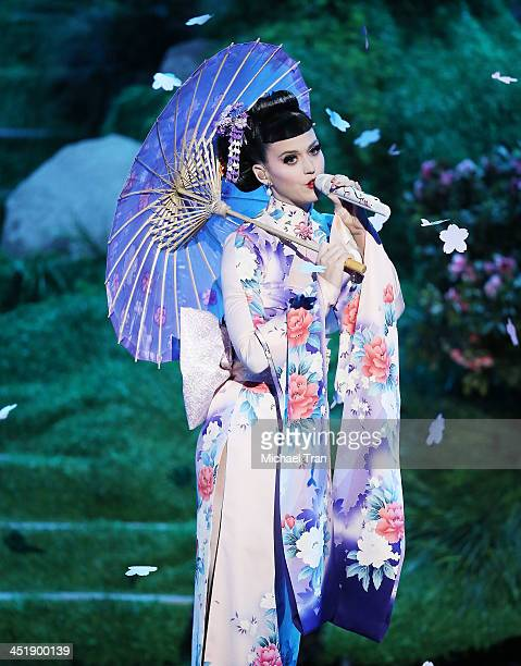 Katy Perry performs onstage at the 2013 American Music Awards held at Nokia Theatre LA Live on November 24 2013 in Los Angeles California