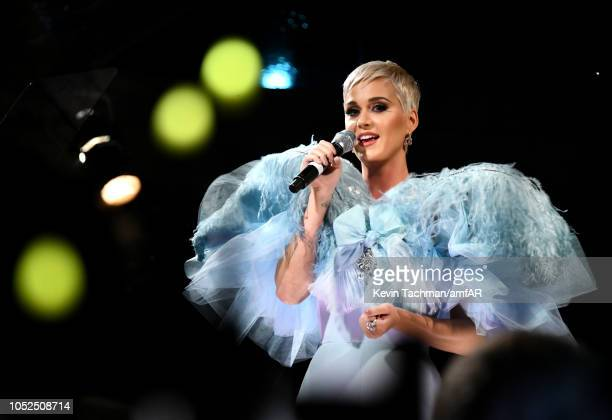 Katy Perry performs onstage at the amfAR Gala Los Angeles 2018 at Wallis Annenberg Center for the Performing Arts on October 18 2018 in Beverly Hills...