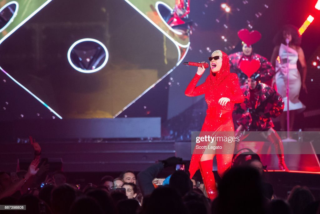 Katy Perry performs onstage during her 'Witness: The Tour' at Little Caesars Arena on December 6, 2017 in Detroit, Michigan.