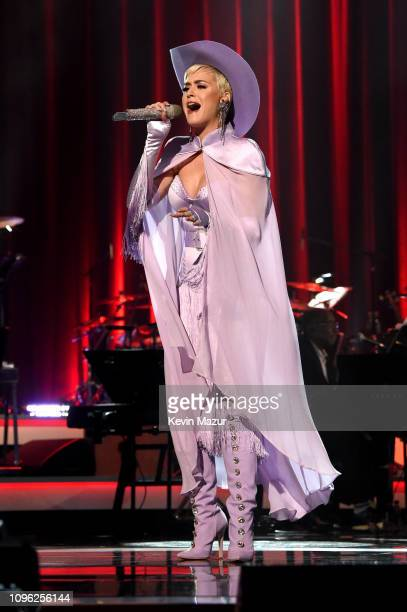 Katy Perry performs onstage during MusiCares Person of the Year honoring Dolly Parton at Los Angeles Convention Center on February 8 2019 in Los...
