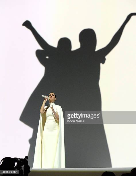 Katy Perry performs onstage during The 57th Annual GRAMMY Awards at the STAPLES Center on February 8 2015 in Los Angeles California