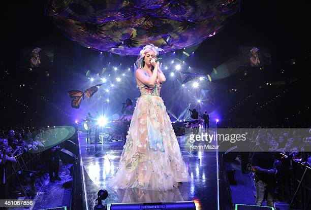 Katy Perry performs onstage during The Prismatic World Tour at PNC Arena on June 22 2014 in Raleigh North Carolina
