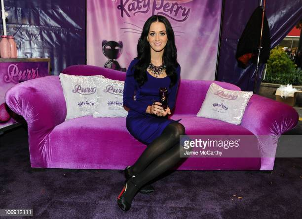 Katy Perry poses at the Launch of Purr by Katy Perry for Nordstrom PopUp NYC Event at Greeley Square Park on November 16 2010 in New York City
