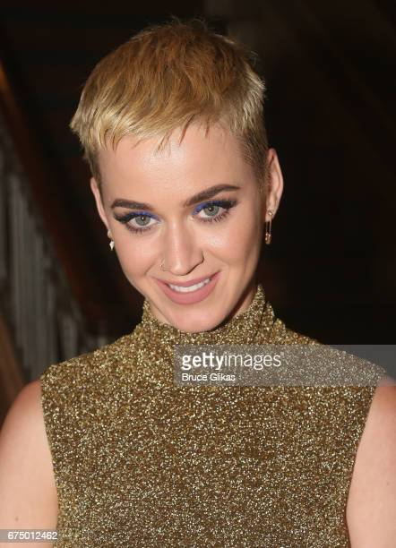 Katy Perry poses backstage at the hit musical 'Dear Evan Hansen' on Broadway at The Music Box Theatre on April 29 2017 in New York City