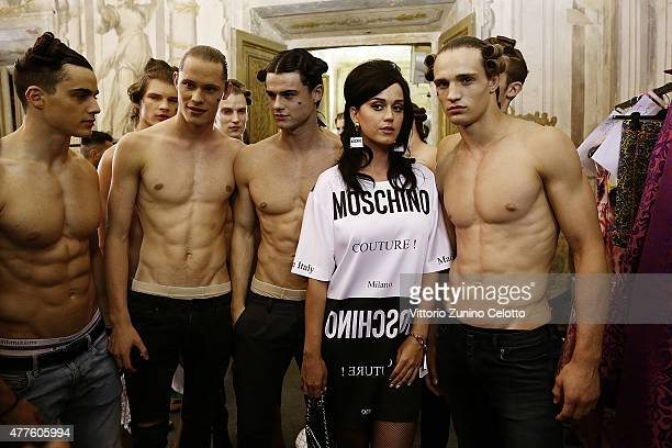 Katy Perry poses backstage prior to the Moschino show during the 88 Pitti Uomo on June 18 2015 in Florence Italy