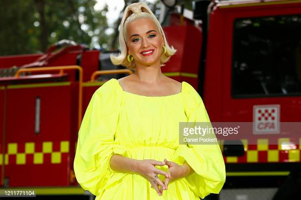Katy Perry poses for a photograph on March 11 2020 in Bright Australia The free Fight On concert was held for for firefighters and communities...