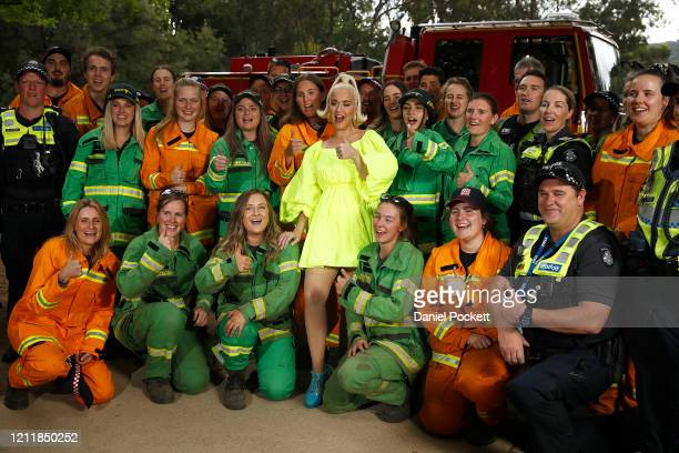 Katy Perry poses for a selfie on March 11 2020 in Bright Australia The free Fight On concert was held for for firefighters and communities recently...