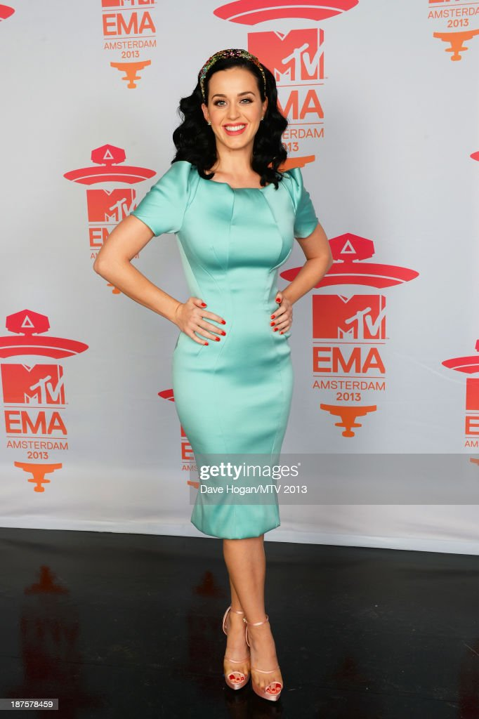 Katy Perry poses in the Exclusive Arrivals Studio during MTV EMA's 2013 at the Ziggo Dome on November 10, 2013 in Amsterdam, Netherlands.