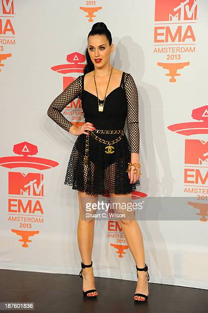 Katy Perry poses in the photo room during the MTV EMA's 2013 at the Ziggo Dome on November 10 2013 in Amsterdam Netherlands
