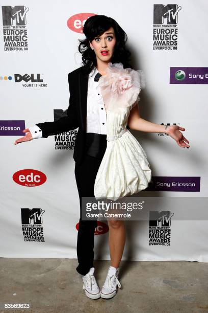 ACCESS*** Katy Perry poses in the Winners Room at the 2008 MTV Europe Music Awards held at at the Echo Arena on November 6 2008 in Liverpool England