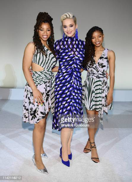 Katy Perry poses with Chloe X Halle during the 10th Annual DVF Awards at Brooklyn Museum on April 11 2019 in New York City