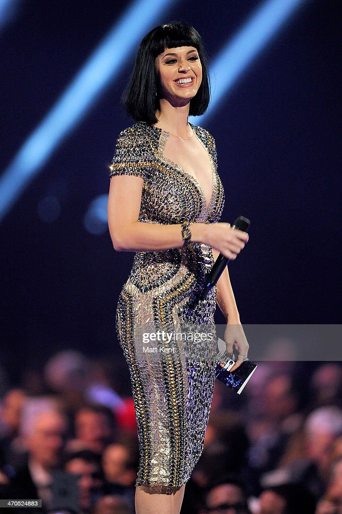 Katy Perry presents the award for British Single at The BRIT Awards 2014 at 02 Arena on February 19, 2014 in London, England.