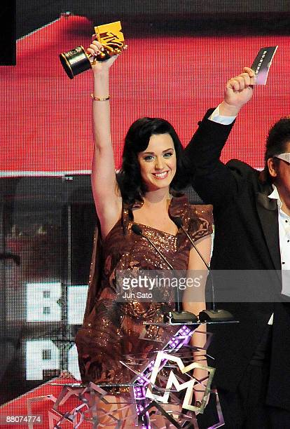Katy Perry receives the award for Best Pop Video during the MTV Video Music Awards Japan 2009 at Saitama Super Arena on May 30 2009 in Saitama Japan