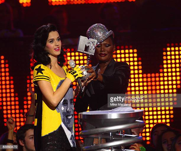 Katy Perry receives the Best New Act Award during the 2008 MTV Europe Music Awards held at at the Echo Arena on November 6 2008 in Liverpool England