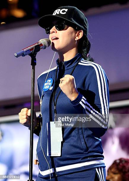 Katy Perry rehearses on the fourth day of the Democratic National Convention at the Wells Fargo Center on July 28 2016 in Philadelphia Pennsylvania...