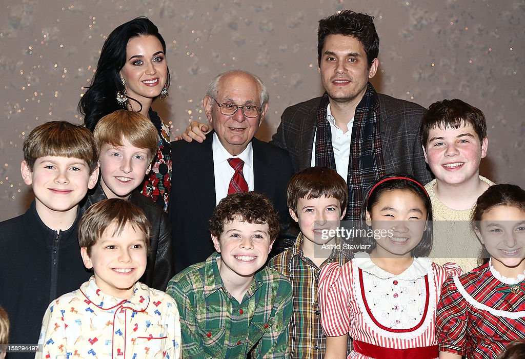 Katy Perry, Richard Mayer and John Mayer pose for photos with cast members from 'A Christmas Story, The Musical' Broadway Performance at Lunt-Fontanne Theatre on December 12, 2012 in New York City.