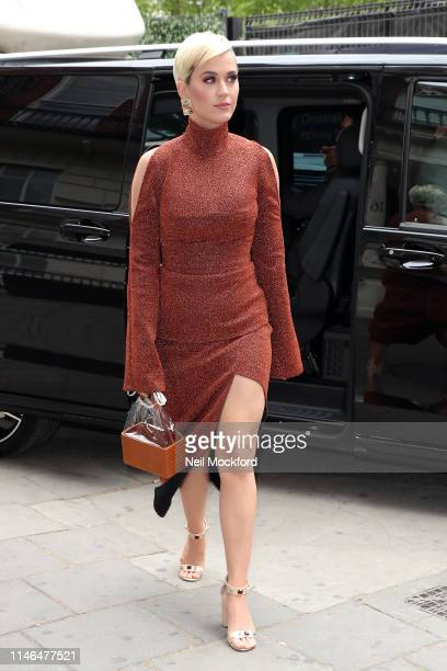 Katy Perry seen arriving at a studio on May 02 2019 in London England