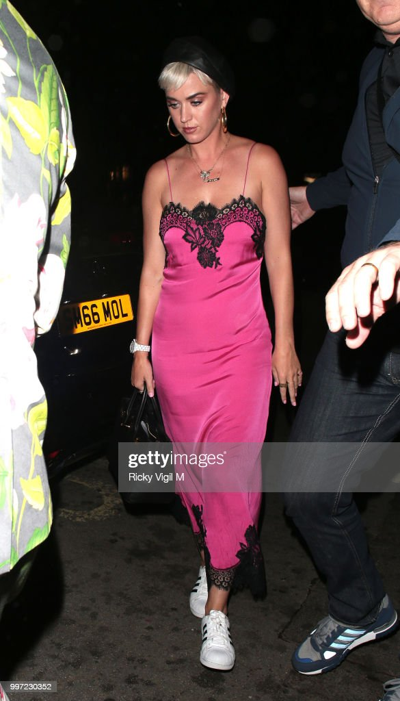 Katy Perry seen at Annabel's club on July 12, 2018 in London, England.