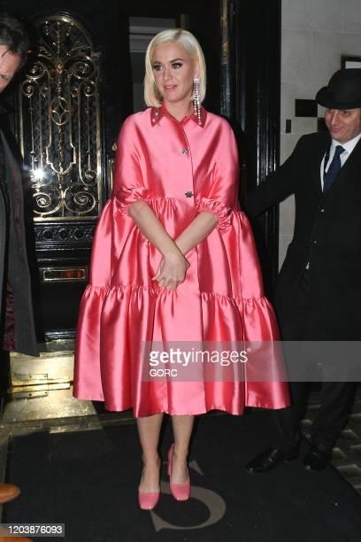 Katy Perry seen leaving Scott's restaurant in Mayfair on February 03, 2020 in London, England.