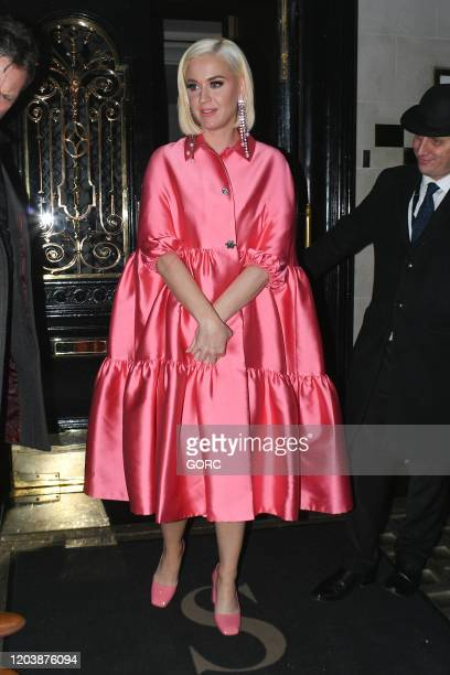 Katy Perry seen leaving Scott's restaurant in Mayfair on February 03 2020 in London England