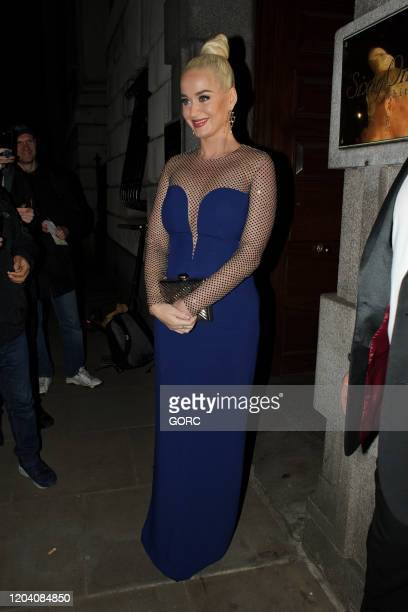 Katy Perry seen leaving the British Asian Trust gala dinner at the Banqueting House on February 04 2020 in London England