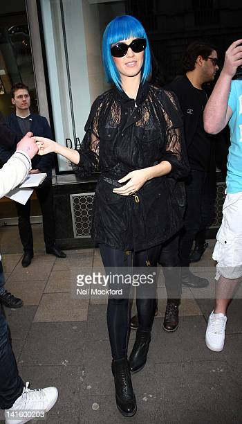 Katy Perry seen shopping at Dover St Market in Mayfair on March 19 2012 in London England