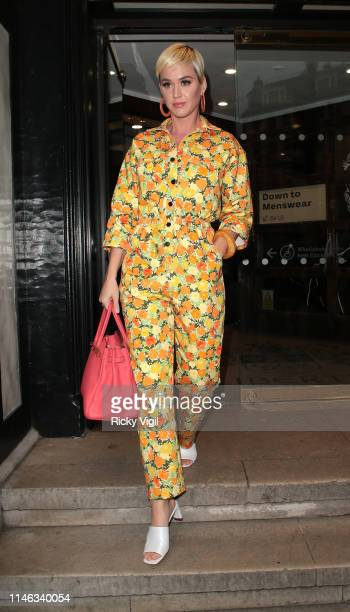 Katy Perry seen shopping at Liberty London on May 01, 2019 in London, England.