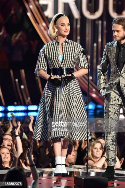 Katy Perry speaks on stage at the 2019 iHeartRadio Music Awards which broadcasted live on FOX at the Microsoft Theater on March 14 2019 in Los...