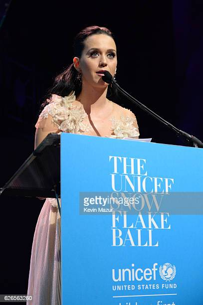 Katy Perry speaks on stage during the 12th annual UNICEF Snowflake Ball at Cipriani Wall Street on November 29 2016 in New York City