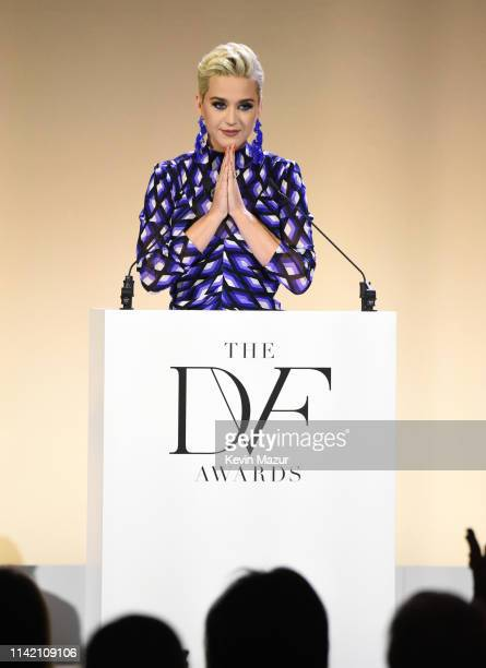 Katy Perry speaks onstage during 10th Annual DVF Awards at Brooklyn Museum on April 11 2019 in New York City