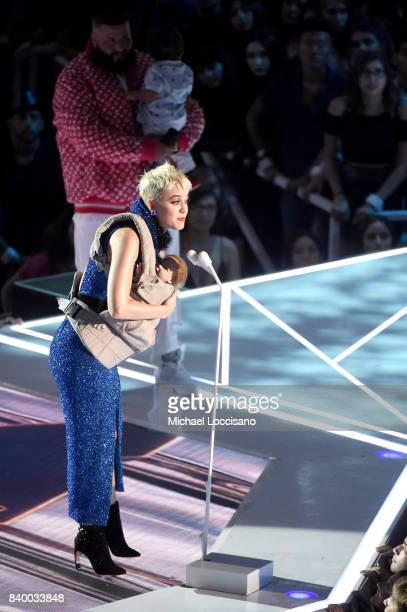 Katy Perry speaks onstage during the 2017 MTV Video Music Awards at The Forum on August 27 2017 in Inglewood California
