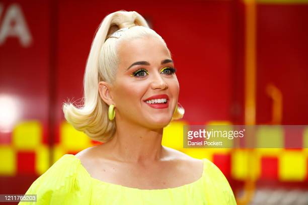 Katy Perry speaks to media on March 11 2020 in Bright Australia The free Fight On concert was held for for firefighters and communities recently...