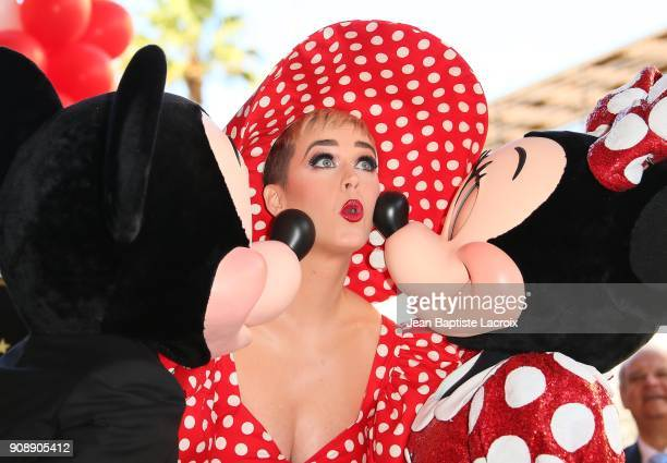 Katy Perry stands with Minnie Mouse during a star ceremony in celebration of the 90th anniversary Disney's Minnie Mouse at the Hollywood Walk of Fame...