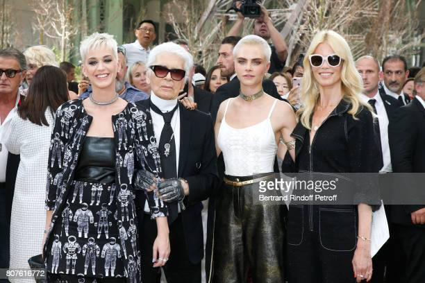 Katy Perry Stylist Karl Lagerfeld Cara Delevingne and Claudia Schiffer pose after the Chanel Haute Couture Fall/Winter 20172018 show as part of Haute...