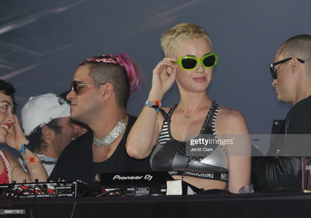 Katy Perry Takes the Tidal Stage surrounded by Candy Crush themed elements at the Moschino Candy Crush Desert Party hosted by Jeremy Scott on April 15, 2017 in Coachella, California.