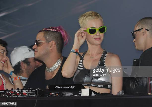 Katy Perry Takes the Tidal Stage surrounded by Candy Crush themed elements at the Moschino Candy Crush Desert Party hosted by Jeremy Scott on April...
