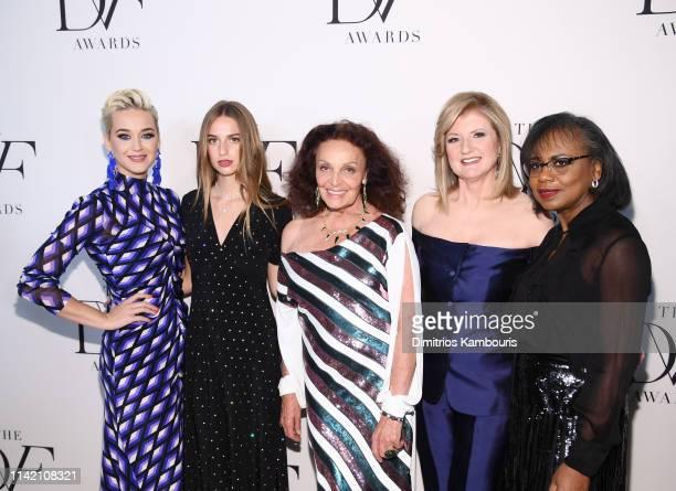 Katy Perry Talita von Furstenberg Diane von Furstenberg Arianna Huffington and Anita Hill attends 10th Annual DVF Awards at Brooklyn Museum on April...