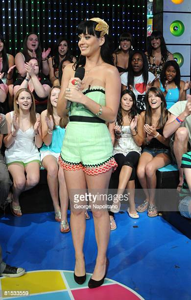 """Katy Perry visits MTV's """"TRL"""" on June 9, 2008 at the MTV Studios in New York."""