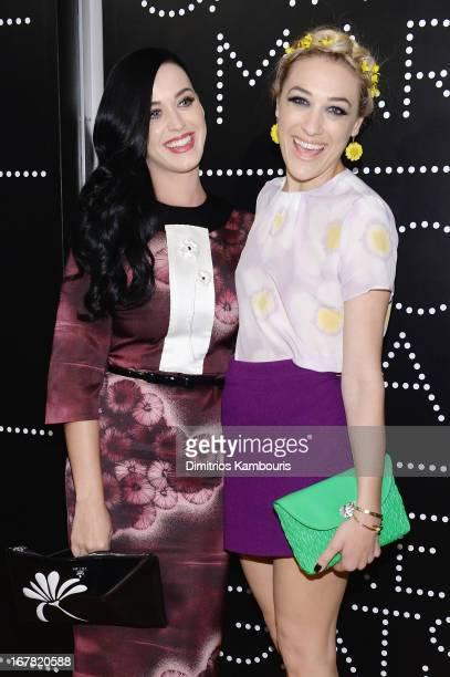 Katy Perry wearing Prada and Mia Moretti wearing Miu Miu attend Catherine Martin And Miuccia Prada Dress Gatsby Opening Cocktail on April 30 2013 in...