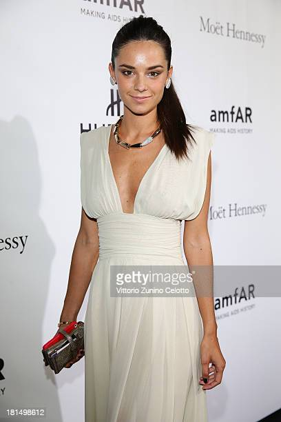 Katy Saunders attends the amfAR Milano 2013 Gala as part of Milan Fashion Week Womenswear Spring/Summer 2014 at La Permanente on September 21 2013 in...