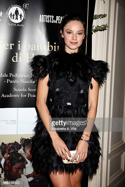 Katy Saunders attends the charity dinner organized by Fondazione Rava for the children of Haiti at Villa Letitia on March 15 2015 in Rome Italy