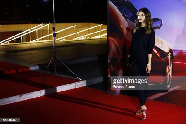 Katy Saunders attends the Ferrari Portofino premiere at Roma Convention Center La Nuvola on October 23 2017 in Rome Italy