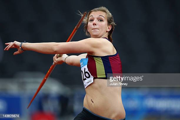 Katy Sealy throws in the Javerlin during day one of the BUCS Visa Athletics Championships 2012 LOCOG Test Event for London 2012 at Olympic Stadium on...