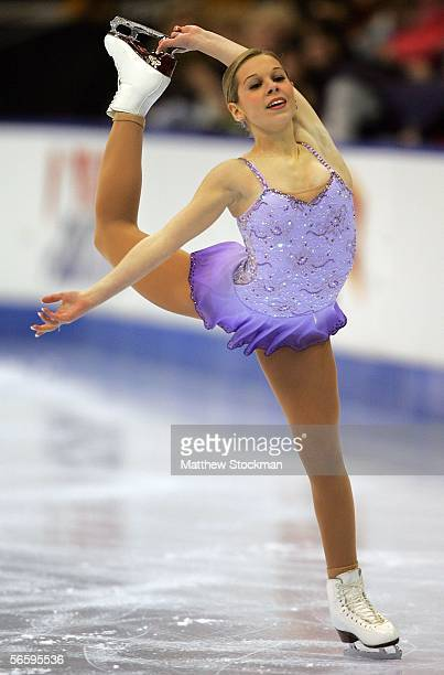 Katy Taylor competes in the Women's Free program during the 2006 State Farm U.S. Figure Championships at the Savvis Center on January 14, 2006 in St....