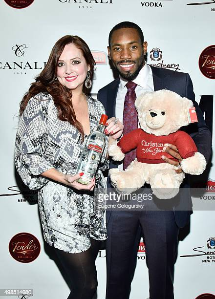 Katy Wallace and Antonio Cromartie attend the GOTHAM Men's event with host Antonio Cromartie at Tender Restaurant in The Sanctuary Hotel at Tender at...