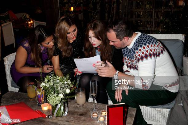 Katy Wickremesinghe Zoe Hardman Angela Scanlon and Nick Ede take part in the Vodafone Fashionable Pub Quiz at Shoreditch House on November 21 2012 in...