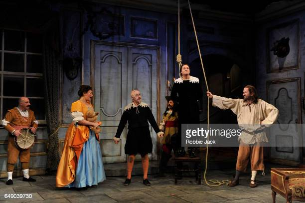 Katy Wix as Elise Griff Rhys Jones as Harpagon Mathew Horne as Valere and Lee Mack as Maitre Jacques with artists of the company in Sean Foley and...