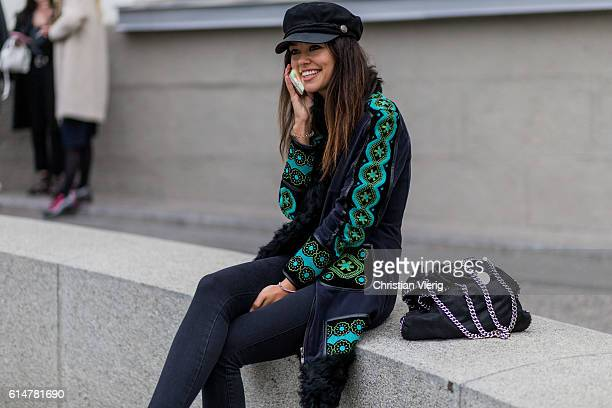 Katy Yanok wearing a Stella McCartney bag Marc Jacobs hat a Oysho body vintage coat from her grandmother on October 14 2016 in Moscow Russia