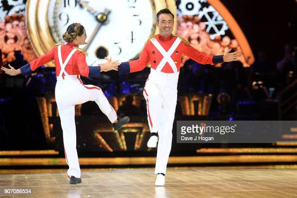 Katya Jones and Joe McFadden attend the 'Strictly Come Dancing' Live dress rehearsal at Arena Birmingham on January 18 2018 in Birmingham England...